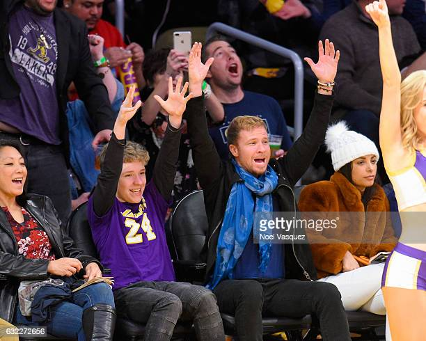 Brian Littrell and Baylee Littrell attend a basketball game between the Indiana Pacers and the Los Angeles Lakers at Staples Center on January 20...