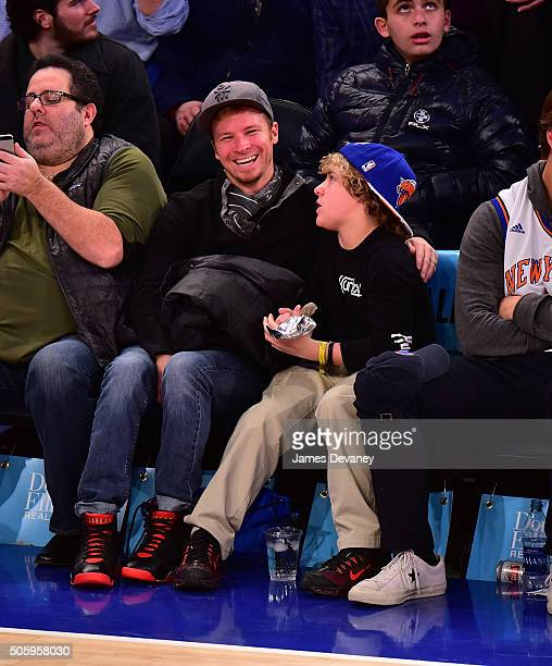 Brian Littrell and Baylee Littrell attend the Utah Jazz vs New York Knicks game at Madison Square Garden on January 20 2016 in New York City