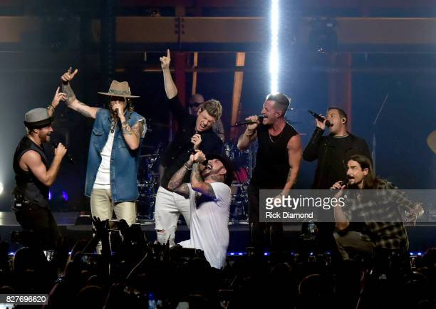 Brian Littrell and Kevin Richardson of Backstreet Boys Brian Kelley and Tyler Hubbard of Florida Georgia Line Nick Carter Howie Dorough and AJ McLean...