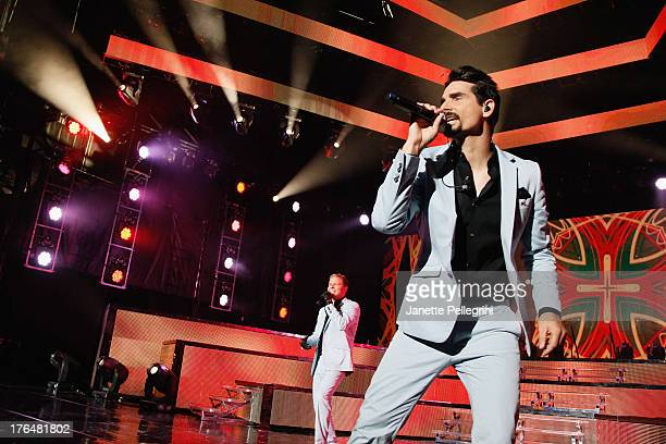 Brian Littrell and Kevin Richardson of the Backsteet Boys perform at Nikon at Jones Beach Theater on August 13 2013 in Wantagh New York