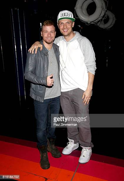 Brian Littrell and Nick Carter of the band Backstreet Boys visit Broadway's Disaster at Nederlander Theatre on March 12 2016 in New York City