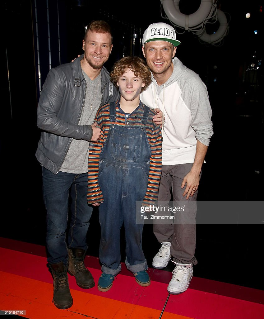 """Nick Carter And Brian Littrell Visit Broadway's """"Disaster!"""" : News Photo"""