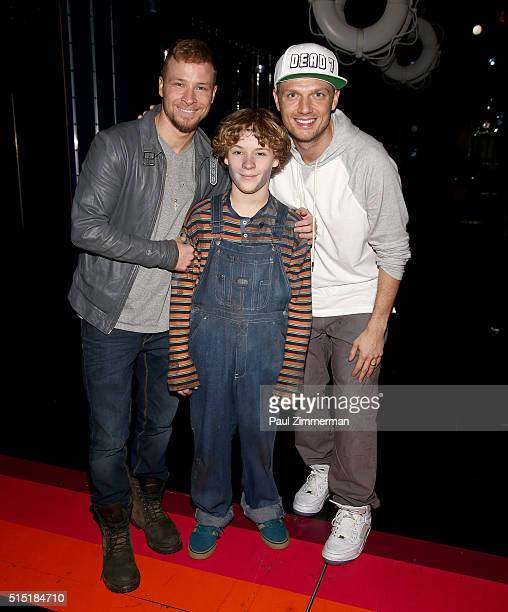 Brian Littrell Baylee Littrell and Nick Carter visit Broadway's Disaster at Nederlander Theatre on March 12 2016 in New York City