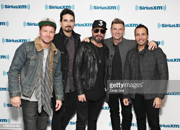 Brian Littrell Kevin Richardson AJ McLean Nick Carter and Howie Dorough of Backstreet Boys visit the SiriusXM Studios on January 28 2019 in New York...