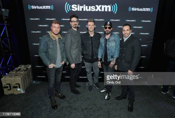 Brian Littrell Kevin Richardson Nick Carter AJ McLean and Howie Dorough of Backstreet Boys attend SiriusXM at Super Bowl LIII Radio Row on February...