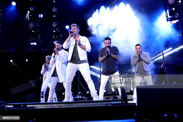Brian Littrell Kevin Richardson Nick Carter AJ McLean and Howie Dorough of music group Backstreet Boys perform onstage during the 2018 iHeartRadio...