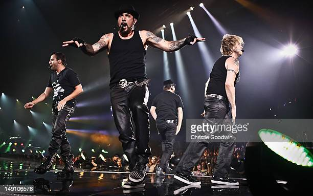 Brian Littrell Nick Carter AJ McLean and Howie Dorough of Backstreet Boys perform on stage during the NKOTBSB tour at the O2 Arena on April 29 2012...