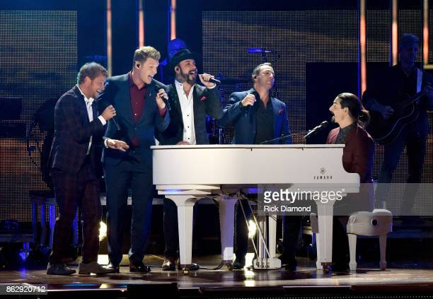 Brian Littrell Nick Carter AJ McLean Howie Dorough and Kevin Richardson of the Backstreet Boys perform onstage at the 2017 CMT Artists Of The Year on...