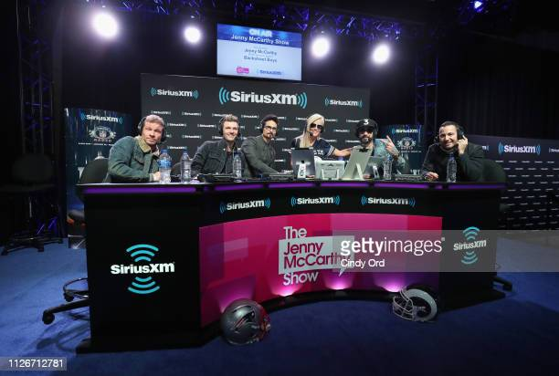 Brian Littrell Nick Carter Kevin Richardson Jenny McCarthy AJ McLean and Howie Dorough attend SiriusXM at Super Bowl LIII Radio Row on February 01...