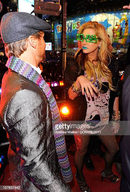 Brian Littrell of Backstreet Boys and Ke$ha speak at Dick Clark's New Year's Rockin' Eve with Ryan Seacrest 2011 in Times Square on December 31 2010...