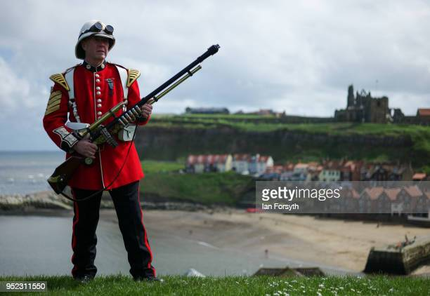 Brian Lowe from St Helens poses dressed in a Rourke's Drift style outfit during Whitby Gothic Weekend on April 28, 2018 in Whitby, England. The...