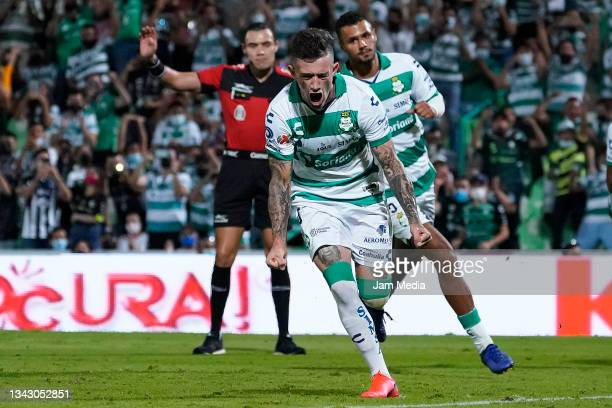 Brian Lozan of Santos celebrates after scoring his team's first goal during the 10th round match between Santos Laguna and Monterey as part of the...