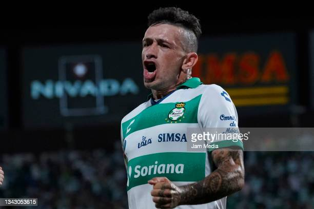 Brian Lozano of Santos celebrates after scoring his team's first goal during the 10th round match between Santos Laguna and Monterey as part of the...