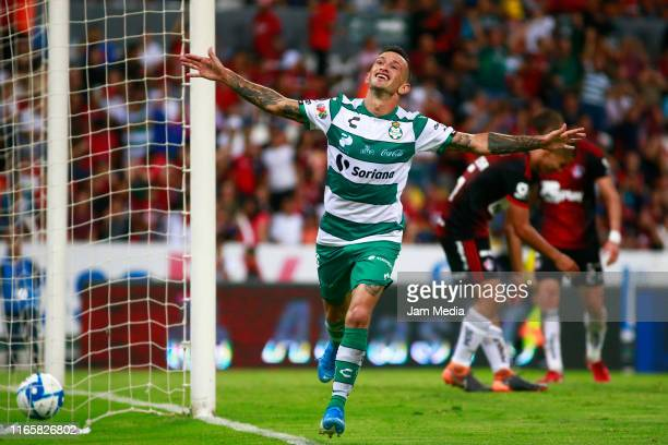 Brian Lozano of Santos celebrates after scoring the winning goal during the 3rd round match between Atlas and Santos Laguna as part of the Torneo...