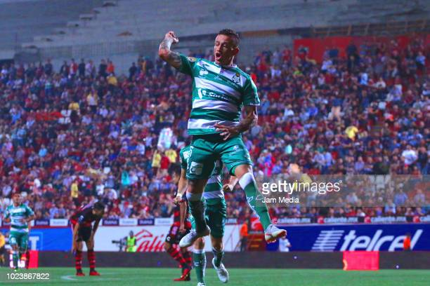 Brian Lozano of Santos celebrates after the first goal of his team during the 6th round match between Tijuana and Santos Laguna as part of the Torneo...