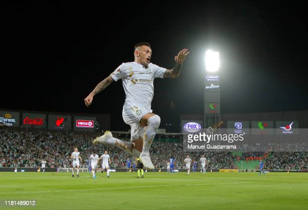 Brian Lozano of Santos celebrates the second goal of his team during the 18th round match between Santos Laguna and Cruz Azul as part of the Torneo...