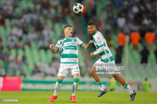 Brian Lozano of Santos controls the ball during the 10th round match between Santos Laguna and Monterey as part of the Torneo Grita Mexico A21 Liga...