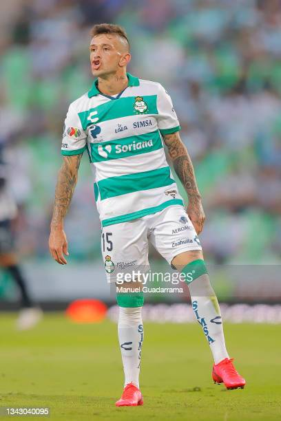 Brian Lozano of Santos gestures during the 10th round match between Santos Laguna and Monterey as part of the Torneo Grita Mexico A21 Liga MX at...