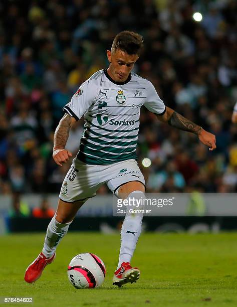 Brian Lozano of Santos kicks the ball during the 17th round match between Santos Laguna and America as part of the Torneo Apertura 2017 Liga at...