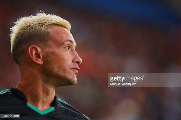 Brian Lozano of Santos looks on during the 15th round match between Pachuca and Santos Laguna as part of the Torneo Clausura 2018 Liga MX at Hidalgo...