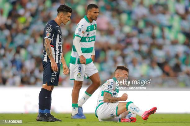 Brian Lozano of Santos reacts during the 10th round match between Santos Laguna and Monterey as part of the Torneo Grita Mexico A21 Liga MX at Corona...