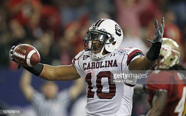 Brian Maddox of the South Carolina Gamecocks against the Florida State Seminoles during the 2010 ChickfilA Bowl at Georgia Dome on December 31 2010...