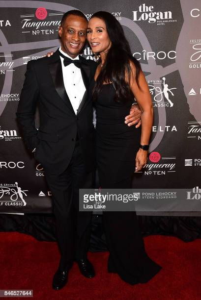 Brian Maillian and Beverly Johnson attend the Erving Golf Classic Black Tie Ball sponsored by Delta Airlines Pond LeHocky Law with cocktails...