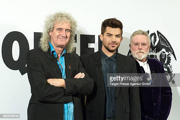 Brian May Adam Lambert and Roger Taylor attends the Queen and Adam Lambert photocall at Ritz Carlton on December 11 2014 in Berlin Germany