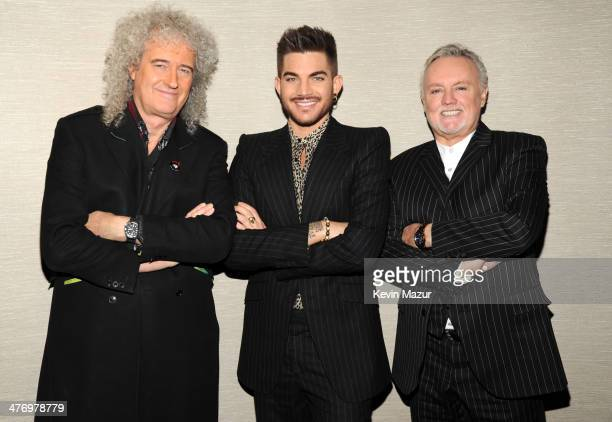 Brian May, Adam Lambert and Roger Taylor backstage before their Queen + Adam Lambert North American tour announcement at Madison Square Garden on...