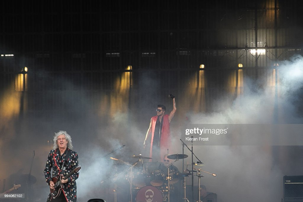 Brian May, Adam Lambert and Roger Taylor of Queen perform at Marlay Park on July 8, 2018 in Dublin, Ireland.
