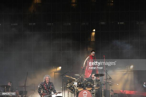 Brian May Adam Lambert and Roger Taylor of Queen perform at Marlay Park on July 8 2018 in Dublin Ireland