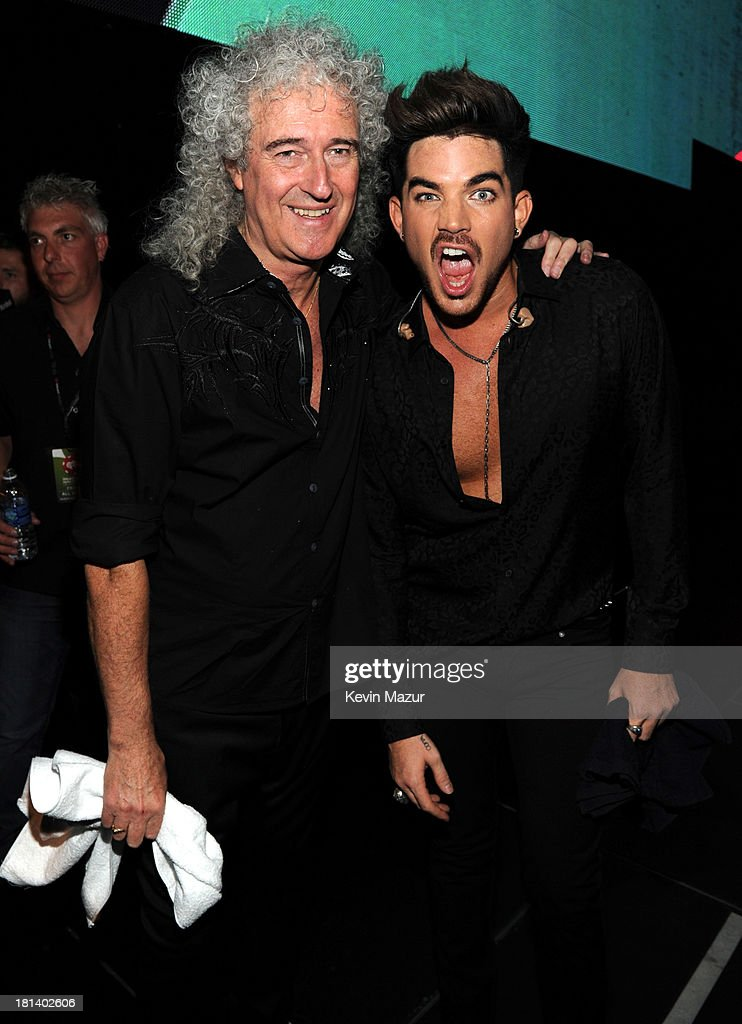 Brian May and Adam Lambert attend the iHeartRadio Music Festival at the MGM Grand Garden Arena on September 20, 2013 in Las Vegas, Nevada.