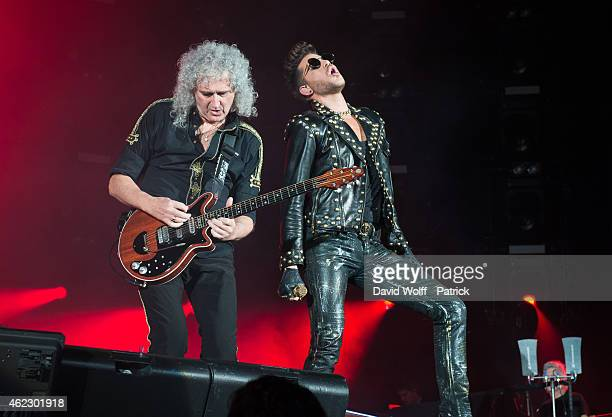 Brian May and Adam Lambert from Queen perform on January 26 2015 in Paris France