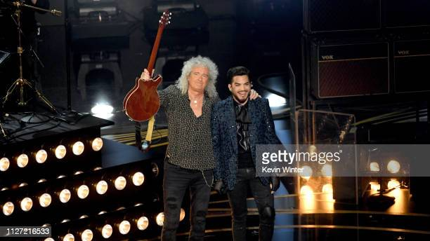 Brian May and Adam Lambert onstage during the 91st Annual Academy Awards at Dolby Theatre on February 24 2019 in Hollywood California