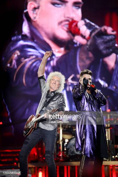 Brian May and Adam Lambert perform at Mt Smart Stadium on February 07 2020 in Auckland New Zealand