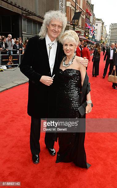 Brian May and Anita Dobson arrive at The Olivier Awards with Mastercard at The Royal Opera House on April 3 2016 in London England