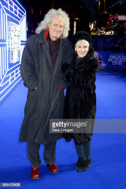 Brian May and Anita Dobson attend the European Premiere of 'Ready Player One' at Vue West End on March 19 2018 in London England