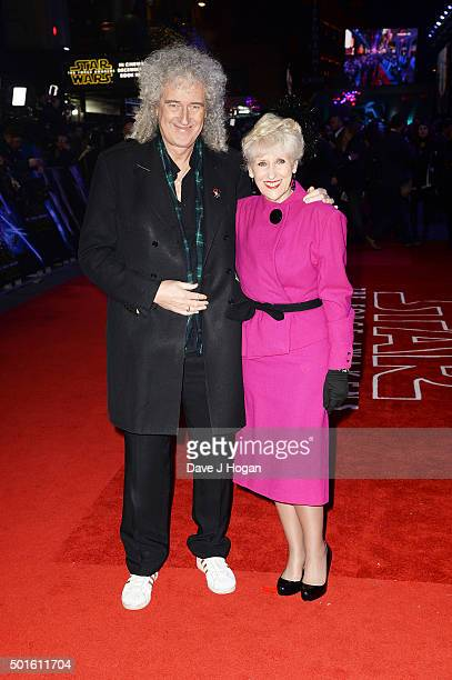 Brian May and Anita Dobson attend the European Premiere of 'Star Wars The Force Awakens' at Leicester Square on December 16 2015 in London England