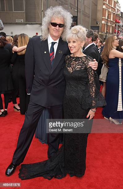 Brian May and Anita Dobson attend The Olivier Awards at The Royal Opera House on April 12, 2015 in London, England.