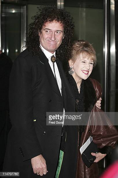 Brian May and Anita Dobson during 2006 Laurence Olivier Awards Arrivals at London Hilton in London United Kingdom