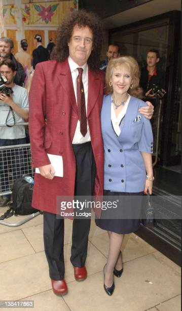 Brian May and Anita Dobson during The 50th Ivor Novello Awards Arrivals at Grosvenor House Hotel in London Great Britain