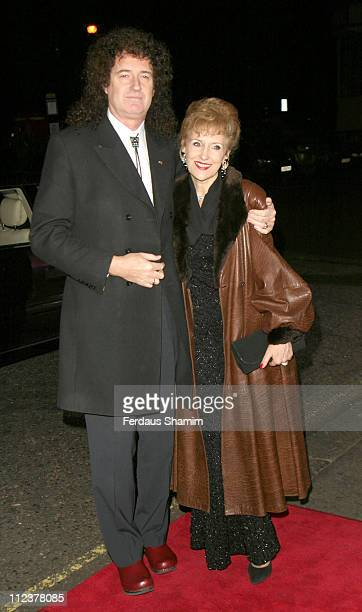 Brian May and Anita Dobson during Variety Club Show Business Awards 2004 Arrivals at Park Lane Hilton in London Great Britain