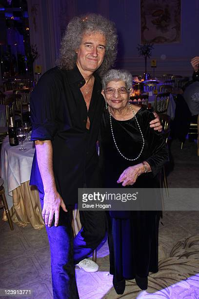 Brian May and Freddie Mercury's mother Jer Bulsara attend the Freddie For A Day 65th birthday anniversary party at The Savoy Hotel on September 5...