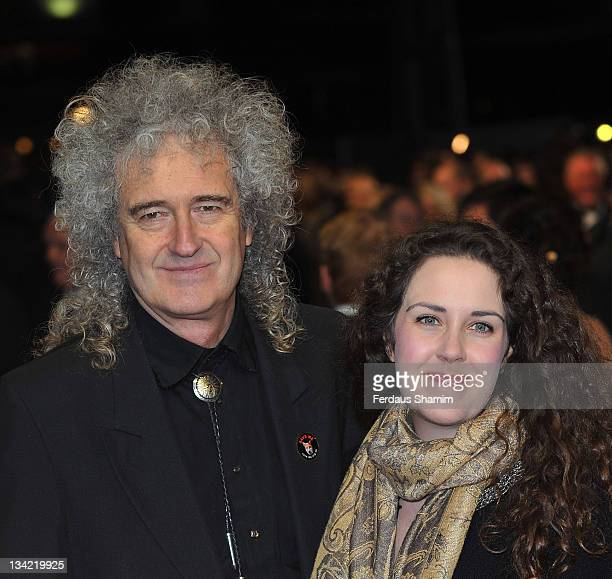 Brian May and his daughter Emily Ruth attend the 3D screening of Hugo as part of the Royal Film Performance at Odeon Leicester Square on November 28...