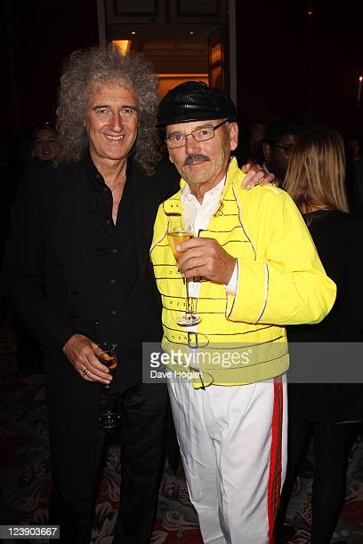 Brian May and Jim Beach attend the Freddie For A Day 65th birthday anniversary at The Savoy Hotel on September 5 2011 in London United Kingdom