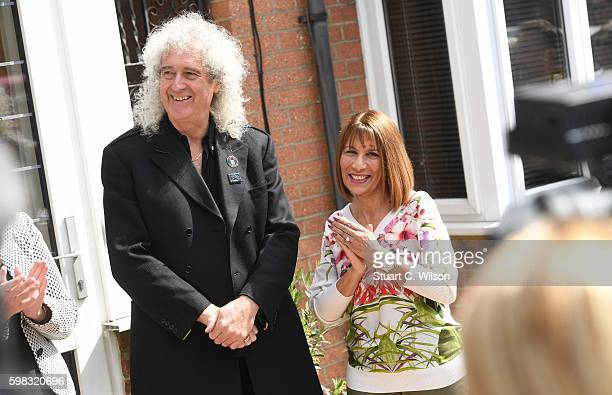 Brian May and Kashmira Cooke attend the unveiling of an English Heritage Blue Plaque commemorating where Freddie Mercury lived on September 1 2016 in...