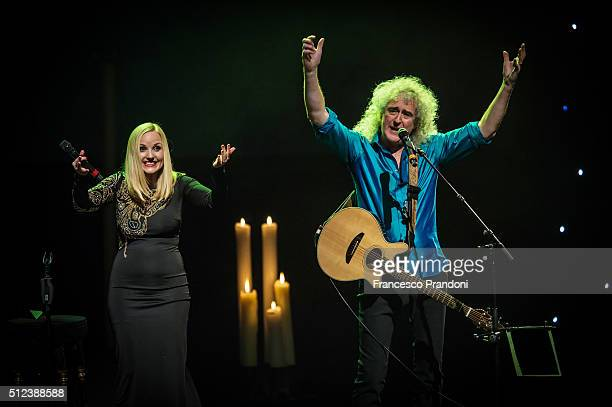 Brian May and Kerry Ellis perform at Teatro degli Arcimboldi on February 25 2016 in Milan Italy
