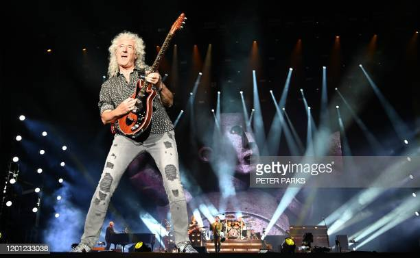 Brian May and Queen and Adam Lambert perform at the Fire Fight Australia, a concert for National Bushfire Relief in Sydney on February 16, 2020. -...