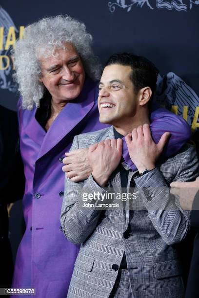 Brian May and Rami Malek attend Bohemian Rhapsody New York premiere at The Paris Theatre on October 30 2018 in New York City
