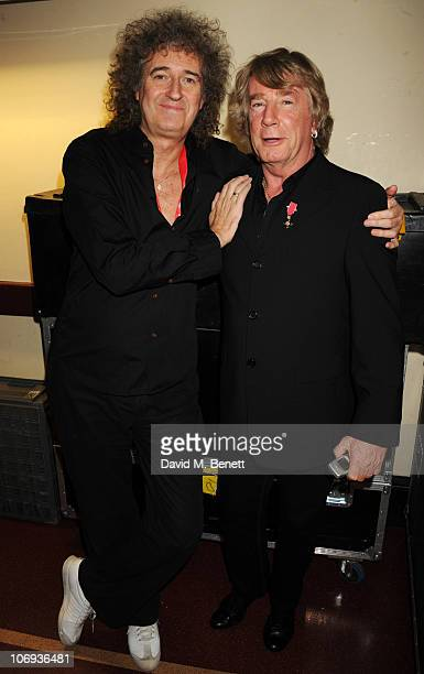 Brian May and Rick Parfitt attend The Prince's Trust Rock Gala 2010 supported by Novae at The Royal Albert Hall on November 17 2010 in London England